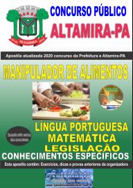 Apostila Impressa Concurso Prefeitura de Altamira - PA 2020 - Manipulador De Alimentos