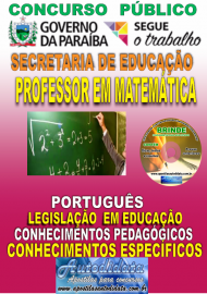Apostila Impressa Concurso SEECT/PB - 2019 - Professor De Matemática