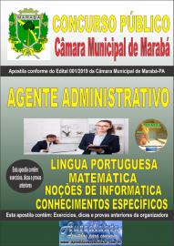 Apostila impressa concurso público Câmara Municipal de Marabá - Pa 2020 Nível Médio Agente Administrativo