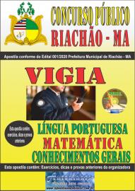 Apostila Impressa Concurso Público Prefeitura e Câmera Municipal de Riachão - MA 2020 Nível Fundamental Área Vigia