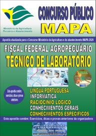Apostila Impressa Concurso Público do MAPA - 2020 Fiscal Federal Agropecuário - Técnico de Laboratório