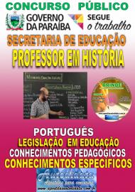 Apostila Impressa Concurso SEECT/PB - 2019 - Professor De História