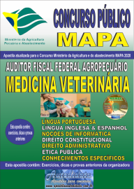 Apostila Impressa Concurso Público do MAPA - 2020 Auditor Fiscal Federal Agropecuário - Medicina Veterinária