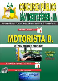 Apostila Digital Concurso Público São Vicente Férrer - MA 2020 Ensino Fundamental Motorista D.