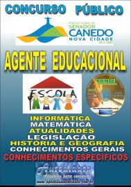 Apostila Impressa SENADOR CANEDO/GO 2020 - Agente Educacional