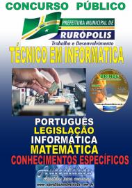 Apostila Impressa Concurso PREFEITURA MUNICIPAL DE RURÓPOLIS - PA - 2019 - Técnico De Informática