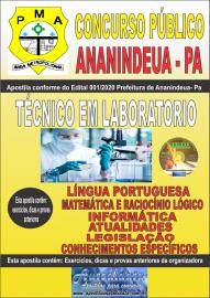 Apostila Impressa Concurso Público Prefeitura de Ananindeua - PA 2020 Área Técnico em Laboratorio