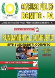 Apostila Digital Concurso Público Prefeitura de Bonito - PA 2020 Fundamental Completo