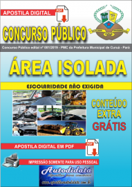Apostila Digital Concurso Público Prefeitura Municipal de Curuá - Pará 2019 Área Isolada