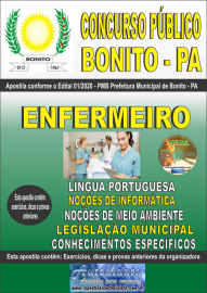 Apostila Impressa Concurso Público Prefeitura de Bonito - PA 2020 Enfermeiro