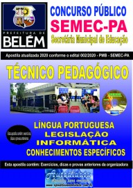 Apostila Impressa Concurso  da SEMEC - PA 2020 - Técnico Pedagógico