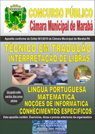 Apostila impressa concurso público Câmara Municipal de Marabá - Pa 2020 Nível Médio Técnico em Tradução e Interpretação de Libras