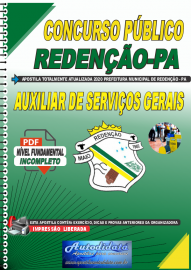 Apostila Digital Concurso Público Prefeitura de Redenção - PA 2020 Auxiliar de Serviços Gerais