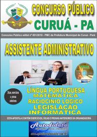 Apostila Impressa Concurso Público Prefeitura Municipal de Curuá - Pará 2019 Assistente Administrativo