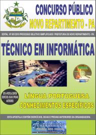 Apostila Impressa Concurso Prefeitura Municipal Novo Repartimento - PA 2019 Técnico em informática
