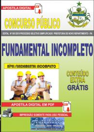 Apostila Digital Concurso Prefeitura Municipal Novo Repartimento - PA 2019 Fundamental Incompleto