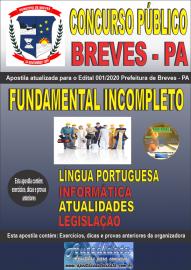 Apostila Impressa Concurso Público Prefeitura de Breves - PA 2020 Nível Fundamental Incompleto