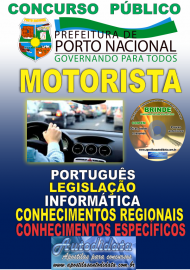 Apostila Impressa Concurso da Prefeitura de Porto Nacional - TO – 2019 - Motorista