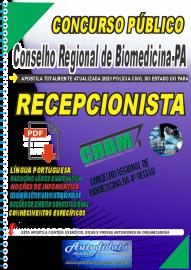 Apostila digital Concurso CRBM -CONSELHO REGIONAL DE BIOMEDICINA - 4ª REGIÃO 2021 - RECEPCIONISTA
