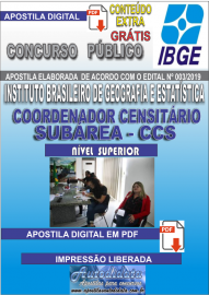 Apostila Digital concurso IBGE 2019 –  COORDENADOR CENSITÁRIO SUBÁREA
