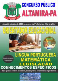 Apostila Impressa Concurso Prefeitura de Altamira - PA 2020 - Orientador Educacional