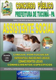 Apostila Impressa Concurso Prefeitura Municipal de Tucumã - PA 2019 Assistente Social