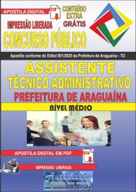 Apostila Digital Concurso Público Prefeitura Araguaína - TO 2020 Área Assistente Técnico Administrativo