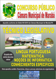 Apostila impressa concurso público Câmara Municipal de Marabá - Pa 2020 Nível Médio Técnico Legislativo