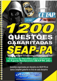 Apostila digital em PDF com 1200 Questões concurso SEAP-PA 2021 – Agente Penitenciário.