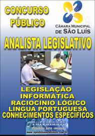 Apostila Impressa Concurso CÂMARA DE SÃO LUÍZ - MA 2019 - Analista  Legislativo