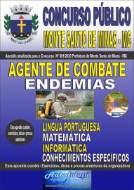 Apostila Impressa Concurso Público Monte Santo de Minas - MG 2020 Agente de Combate às Endemias