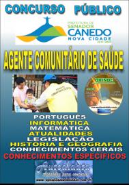 Apostila Impressa SENADOR CANEDO/GO 2020 - Agente Comunitário De Saúde