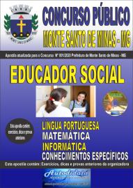 Apostila Impressa Concurso Público Monte Santo de Minas - MG 2020 Educador Social