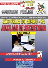Apostila Digital concurso SÃO FÉLIX DO XINGU/PA - 2019 – Auxiliar De Secretaria