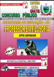 Apostila Digital Concurso SEECT/PB - 2019 - Professor De Filosofia
