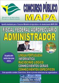 Apostila Impressa Concurso Público do MAPA - 2020 Fiscal Federal Agropecuário - Administrador