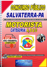 Apostila Digital Concurso Público Prefeitura de Salvaterra - PA  2020 Motorista de Categoria: A, B e D
