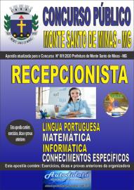 Apostila Impressa Concurso Público Monte Santo de Minas - MG 2020 Recepcionista