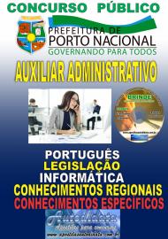 Apostila Impressa Concurso da Prefeitura de Porto Nacional - TO – 2019 -Auxiliar Administrativo