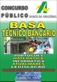 Apostila impressa do BASA Banco da Amazônia 2018 - Técnico Bancário