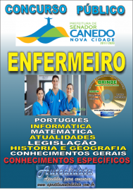 Apostila Impressa SENADOR CANEDO/GO 2020 - Analista De Saúde/Enfermeiro