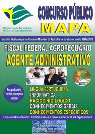 Apostila Impressa Concurso Público do MAPA - 2020 Fiscal Federal Agropecuário - Agente Administrativo