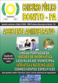 Apostila Impressa Concurso Público Prefeitura de Bonito - PA 2020 Assistente Administrativo