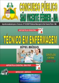 Apostila Digital Concurso Público São Vicente Férrer - MA 2020 Técnico em Enfermagem