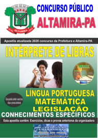 Apostila Impressa Concurso Prefeitura de Altamira - PA 2020 - Intérprete De Libras