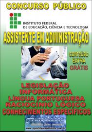 Apostila Digital Concurso INSTITUTO FEDERAL DE EDUCAÇÃO, CIÊNCIA E TECNOLOGIA DO PARÁ - IFPA - PA - 2019 - Assistente em Administração