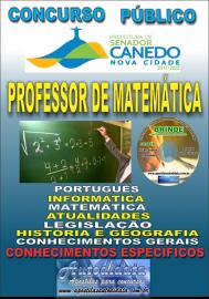 Apostila Impressa SENADOR CANEDO/GO 2020 - Professor De Matemática
