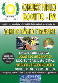 Apostila Impressa Concurso Público Prefeitura de Bonito - PA 2020 Agente de Trânsito e Transporte