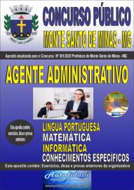 Apostila Impressa Concurso Público Monte Santo de Minas - MG 2020 Agente Administrativo