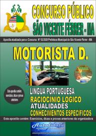 Apostila Impressa Concurso Público São Vicente Férrer - MA 2020 Ensino Fundamental Motorista D.